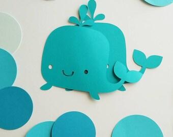 Baleine CUT out-papier baleines--nautique anniversaire Decor--mer décoration--sous la douche siège de bébé et plus