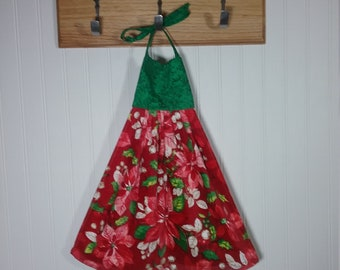 poinsettia towel winter hanging towel hanging towel with ties kitchen towels towels poinsettia decor holiday decor
