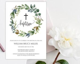 Boy Baptism Invitation, Greenery Baptism Invitation, Greenery Baptism Template, Editable Baptism Invitation, Baptism Invitation, W17