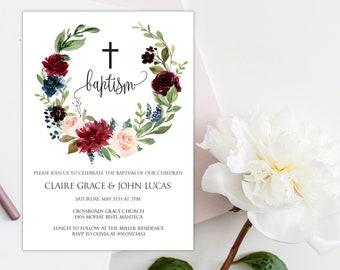 Editable Twin Baptism, Twin Baptism Invitation, Boy And Girl Baptism Invitation, Editable Baptism Invitation, Baptism Invitation, Twins, W3