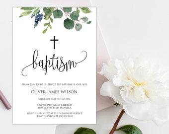 Editable Baptism Invitation, Boy Baptism Invitation, Greenery Baptism Invitation, Greenery Baptism Template, Baptism Invitation, W17