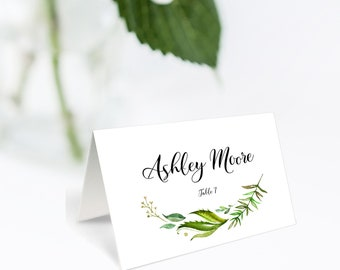 Place Card Template, Wedding Place Card Template, Greenery Place Card, Name Card, Seating Card, Printable File, Greenery Name Card, Greenery