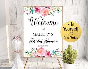 bridal shower welcome sign bridal shower sign floral bridal shower welcome editable welcome sign bridal shower welcome sign template