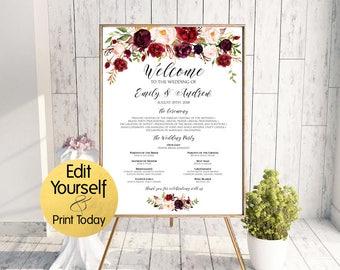 Wedding program poster | Etsy