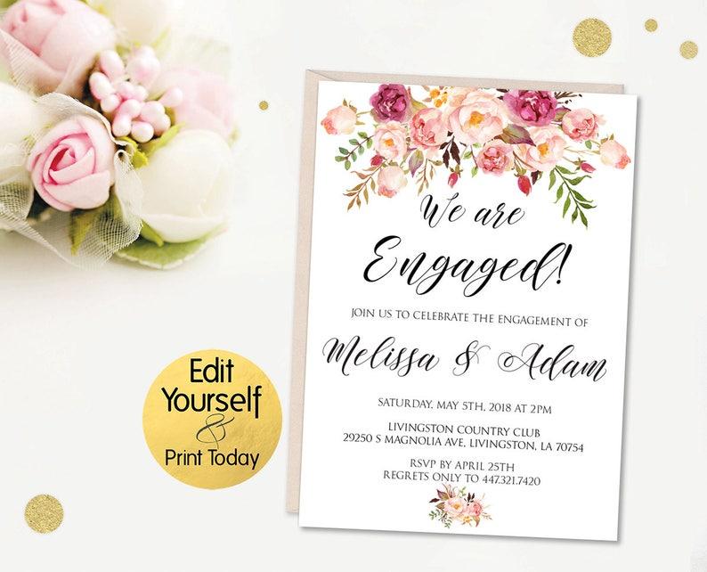 Engagement Invitation Template Editable Engagement Etsy