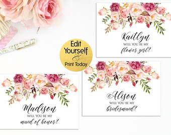 Editable Bridesmaid Card, Will You Be My Bridesmaid Card, Maid Of Honor, Matron Of Honor Card, Flower Girl Card, Boho Bridesmaid Card, W1