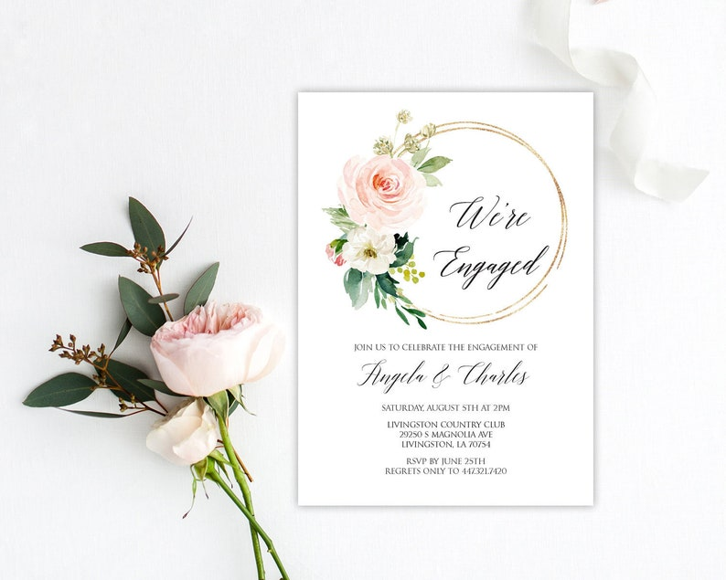 Editable Engagement Invitation Template Blush Invite Wreath W18