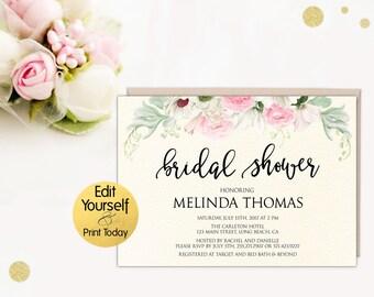 Bridal Shower Invitation Template, Editable Bridal Invitation, Bridal Shower Tmplate, Editable Bridal Shower Invite, DIY Bridal Shower