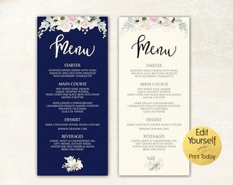 Menu Template, Printable Wedding Menu, Navy Menu Cards, Menu Template, Editable Menu, Dinner Menu, Wedding Menu Cards, Custom Menu, 2 COLORS