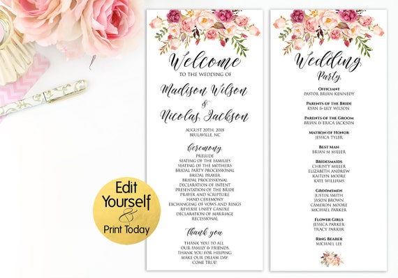 editable wedding program wedding program template wedding etsy