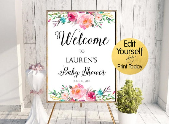 Baby Shower Welcome Sign Baby Shower Sign Floral Baby Shower Etsy