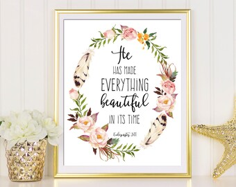 He Has Made Everything Beautiful In Its Time, Ecclesiastes 3:11, Christian Prints, Bible Verse Digital Print, Scripture Art Print, Nursery