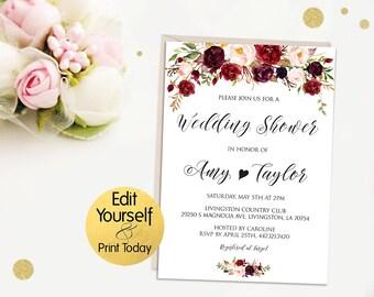 Wedding Shower Invitation Template, Editable Wedding Shower Invite, DIY Wedding Shower, Rehearsal Dinner Invite, Marsala Wedding, W2
