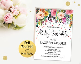 Baby Sprinkle Invitation Template, Baby Sprinkle Invitation, Boho Baby Sprinkle, Editable Baby Sprinkle Invitation, Baby Sprinkle Invite, B1