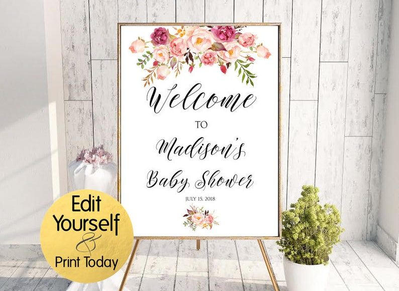 Boho Welcome Sign Baby Shower Welcome Baby Shower Welcome Etsy