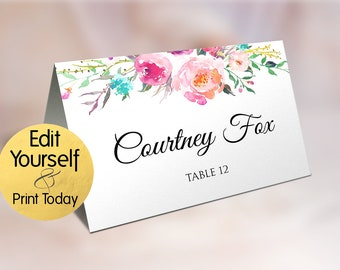 Place Card Template, Wedding Place Card Template, Table Number, Name Card, Seating Card, Printable File, Instant Download, Editable Text