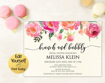 Brunch and Bubbly, Brunch And Bubbly Invitation, Bridal Shower Invitation, Bridal Shower Invitation Template, DIY Bridal Shower Invitation
