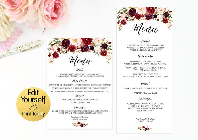picture about Printable Menu Template identify Wedding day Menu Template, Editable Marriage ceremony Menu, Marriage Menu Printable, Menu Template Burgundy, Burgundy Menu, Marsala Wedding ceremony Template, W2