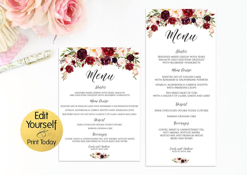 photograph about Printable Menu Template referred to as Wedding day Menu Template, Editable Marriage ceremony Menu, Wedding day Menu Printable, Menu Template Burgundy, Burgundy Menu, Marsala Marriage Template, W2