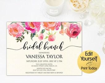 Bridal Brunch Invitation, Bridal Shower Invitation Template, DIY Bridal Shower Invitation, Bridal Brunch, Printable Invite, Instant Download