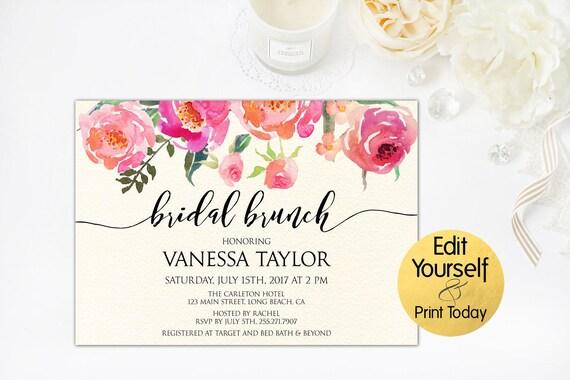 Bridal Brunch Invitation Bridal Shower Invitation Template Etsy