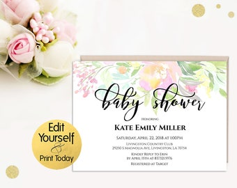 Baby Shower Invitation Template, Editable Baby Shower Invitation, Baby Shower Invitation, Pastel Baby Shower Invitation, Baby shower Invite