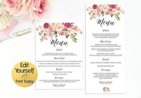 Editable wedding menu floral menu template floral wedding etsy image 0 maxwellsz