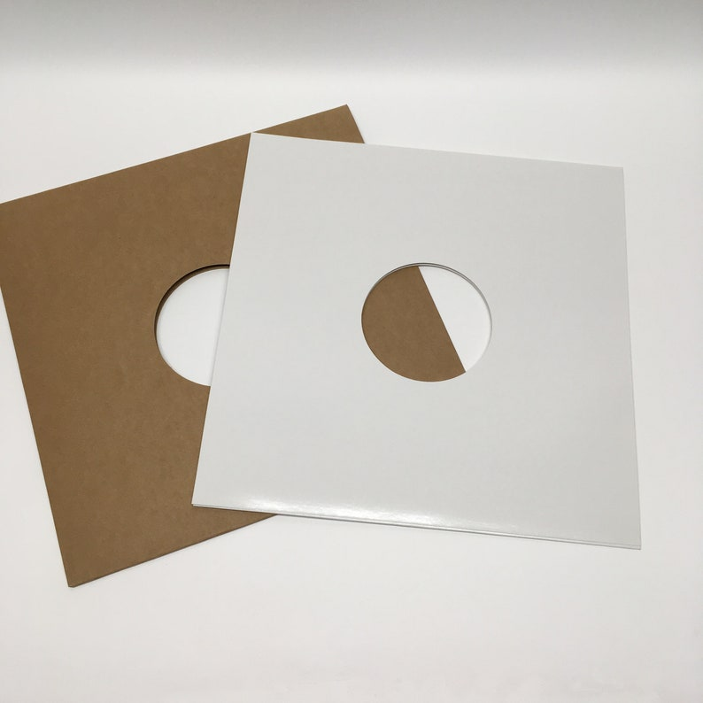 Set of 3 Vinyl Record Jackets 12 White OR Kraft With Cut image 0