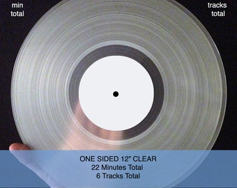 """12""""  Mixtape Vinyl Record ONE SIDED, Your Songs on Custom Vinyl, 22 minutes and 6 tracks  (see additional listings for more options)"""