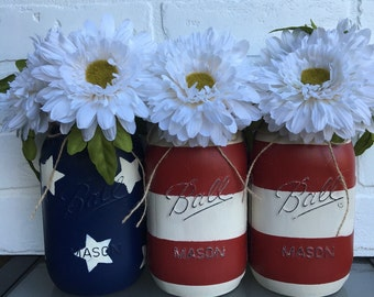 American Flag Mason Jar- Fourth of July, Red, White, Blue Flag Mason Jars, Memorial Day, Independence Day