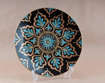 ceramic plate, decorative plate, dish on stand, hand-painted plates, painted plates, Eastern dish, East