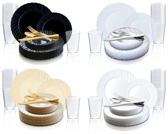 Flared Dinnerware Party Package Disposable Plastic Set Etsy