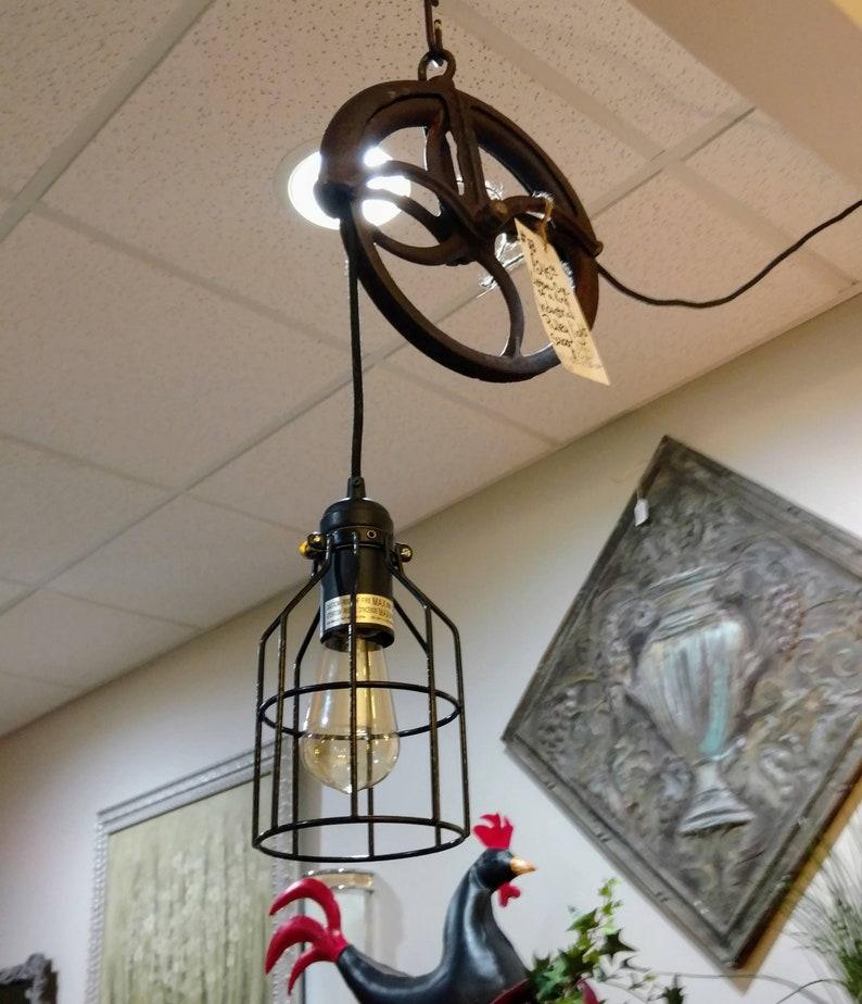 Industrial Pulley Pendant Light Fixture Barn Pulley Lighting Etsy