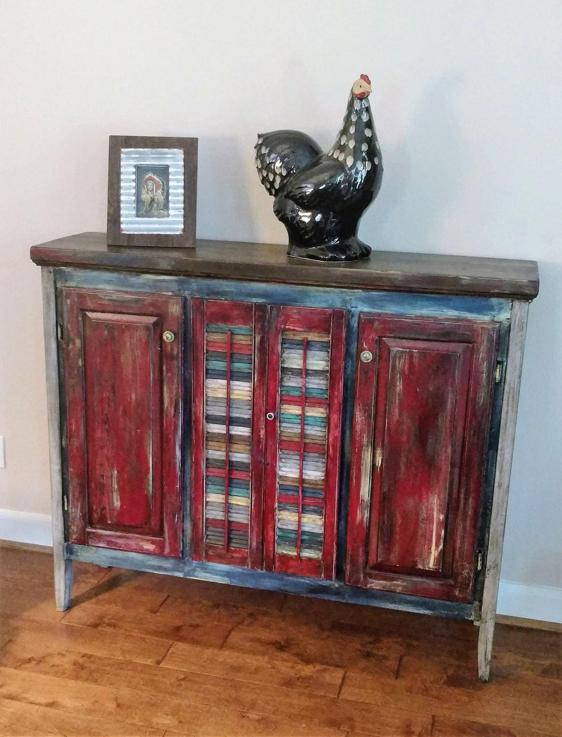 Upcycled Custom made Reclaimed Wood Credenza Pie Safe Buffet  Etsy