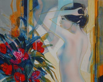 Jean-Baptiste VALADIE: Nude bouquet - original lithograph
