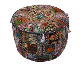 Indian Banjara Pouf Ottoman Pouf Fabric Stool Embroidery Pouf Cover Only Banjara Foot Stool Bean Bag Cover Cotton Contemporary Pouf GP#26