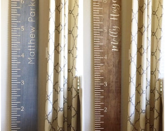 Engraved Stained Wood Growth Chart Measuring stick for Nursery or Kids Room