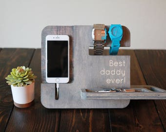 Father's Day Best Daddy Ever Phone Dock Night Stand Station for iPhone and Accessories