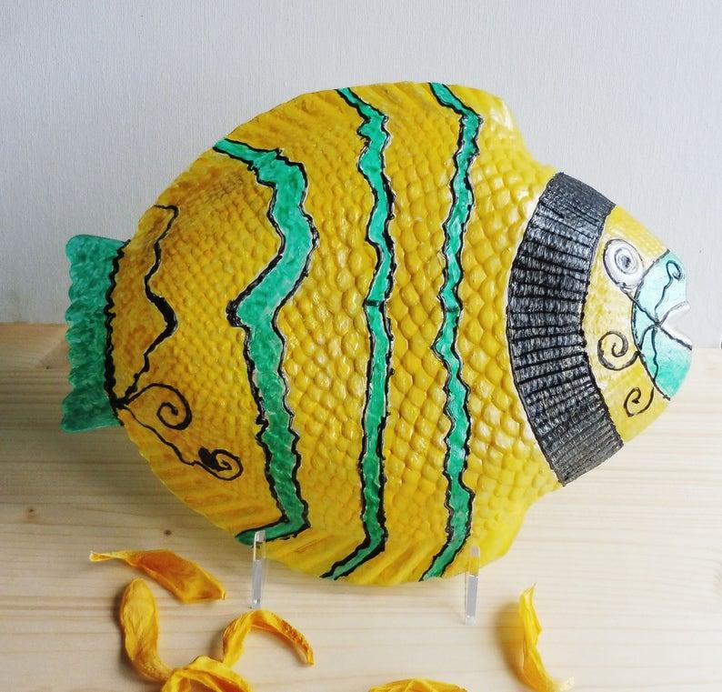 Giallo Decorativi Pesce Piatto Lastra Di Vetro Di Pesce Etsy