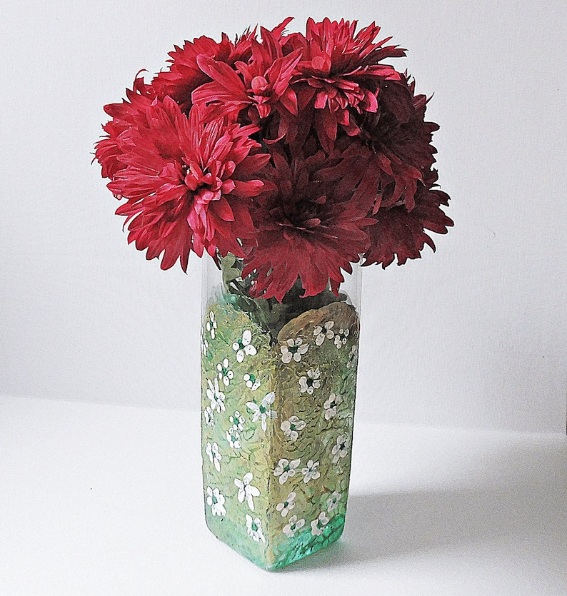 Hand Painted Vases Painted Glass Vase Wedding Centerpiece Etsy