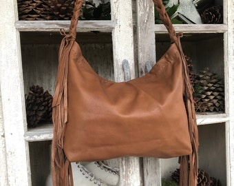 4ba02cd95ad Leather purse with fringes Leather Handbag Brown Leather bag Purse with  Fringes Made to Order Gift idea for her OOAK popular style bag
