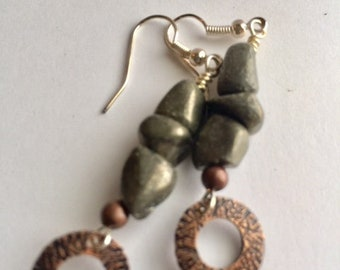 Stacked Pyrite Earrings