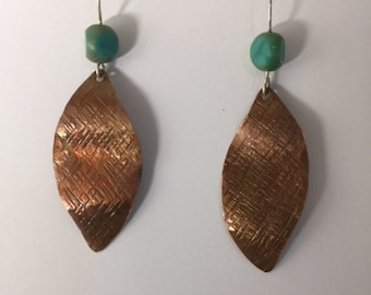 Copper Leaf Drop Earrings