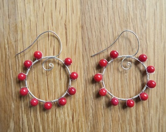 Handmade Red Coral and Silver Hooped Earrings