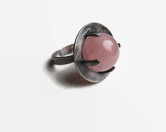 3369f4763 Visiteur ring, Sterling Silver ring, Rose Quartz ring, Ball ring, Crystal  Ball ring, Crystal ring, UFO ring, alien , sci fi, witch