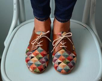 Shoes Women Oxford Leather Handmade Women Shoes Unique shoes Gift Shoes