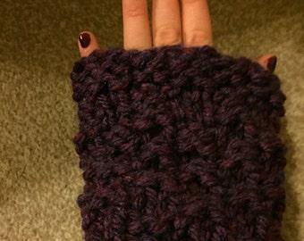 Handmade Fingerless Gloves/ Arm Warmers - purple/black/lilac