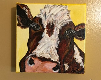 Hereford Cow Acrylic, Hereford Cow Art, Cow Canvas, Acrylic Cow Canvas, Hereford Cow Painting, Cow Painting, Acrylic Cow Art. By Ana Peralta