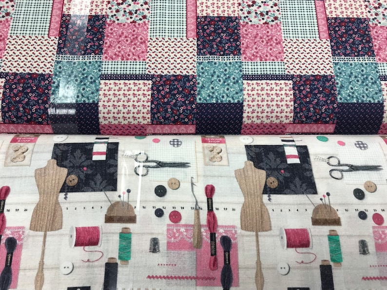 dressmakers Bags dressmaking buttons and sewing machine fabric from the Patchwork Promotions range 100/% Cotton print sewing skirts