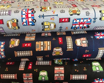 100% Cotton print British fabric material.  Cabs, Taxi, Union Jack, British Flag, Bus, Telephone Box, UK Suitable for quilting, dressmaking